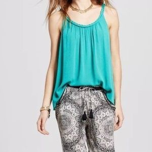 Women's Green Braided Strap Woven Cami Tank Top
